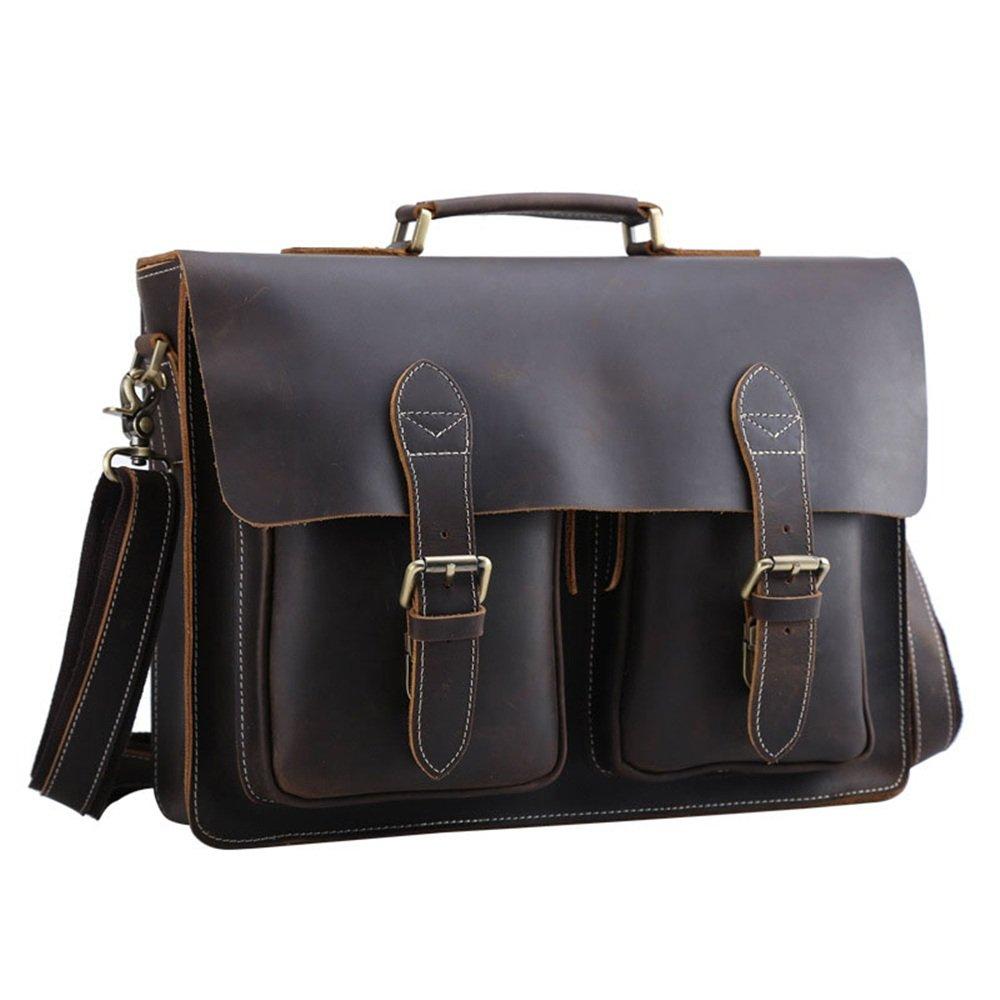 FeliciaJuan Mens Adjustable Shoulder Strap Tote Bag Leather Shoulder Messenger Bag Satchel Crossbody 14 Inch Laptop Bag Business Briefcase Dark Brown