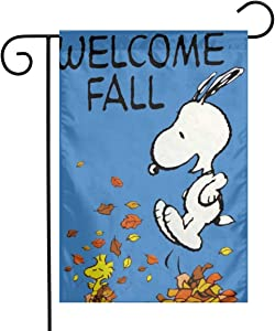 Criss Snoopy Welcome Fall Garden Flag Perfect Decor for Outdoor Yard Porch Patio Farmhouse Lawn, 12 X 18 Inch