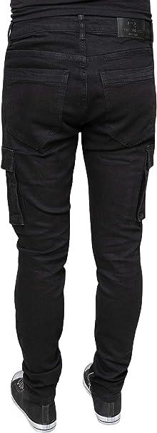 Evoga Pantalones Vaqueros de algodón con Bolsillos Laterales para Hombre, Color Negro