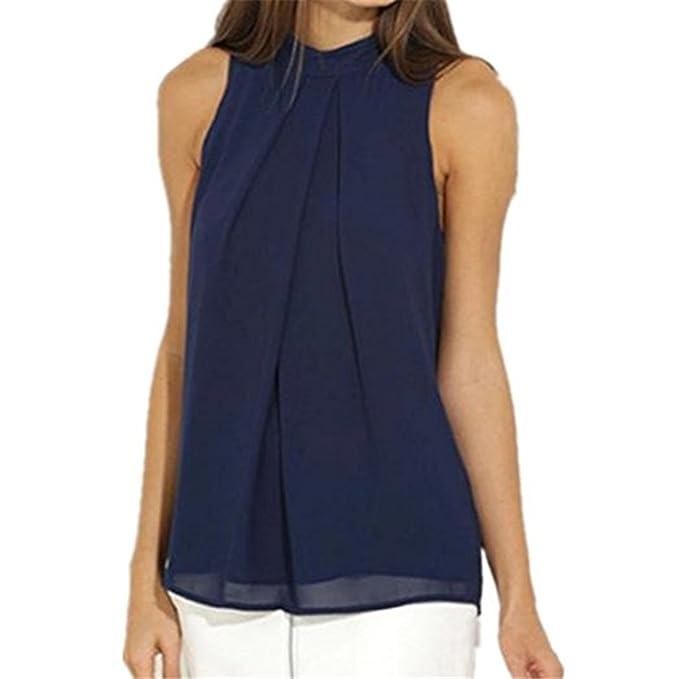 a715feb95f1a Sannysis Damen Chiffon Bluse Ärmellos T-Shirt Sommer Bluse Tops (S, Blau)