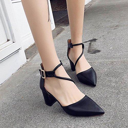 ranurado las para de tacón mujer cabecera chicas de con zapatos romano alto Qiqi de y Xue Negro de negrita sandalias wPvqROtx