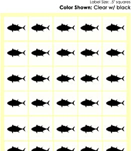 Savor The Memories Meal Stickers for Place Cards (Gold or Black) (Clear with Black Icon, Fish)