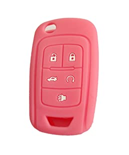 New 5 Buttons Silicone Cover Holder Key Jacket for Chevrolet Camaro Cruze Volt Equinox Spark Malibu Sonic Flip Remote Key Case Shell Cover(Pink)