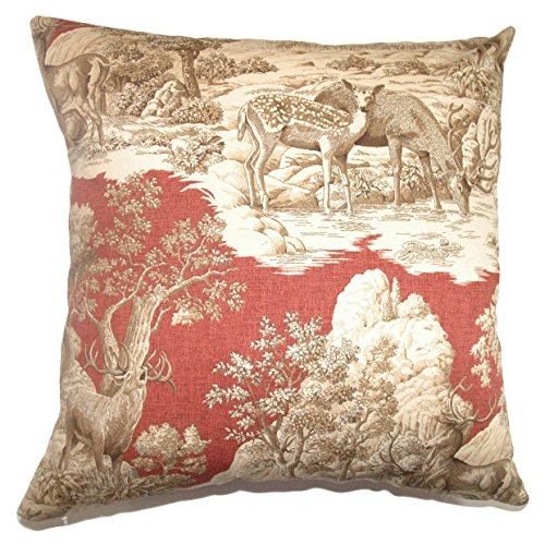 - The Pillow Collection Feramin Toile Bedding Sham Redwood Back, Standard/20 x 26