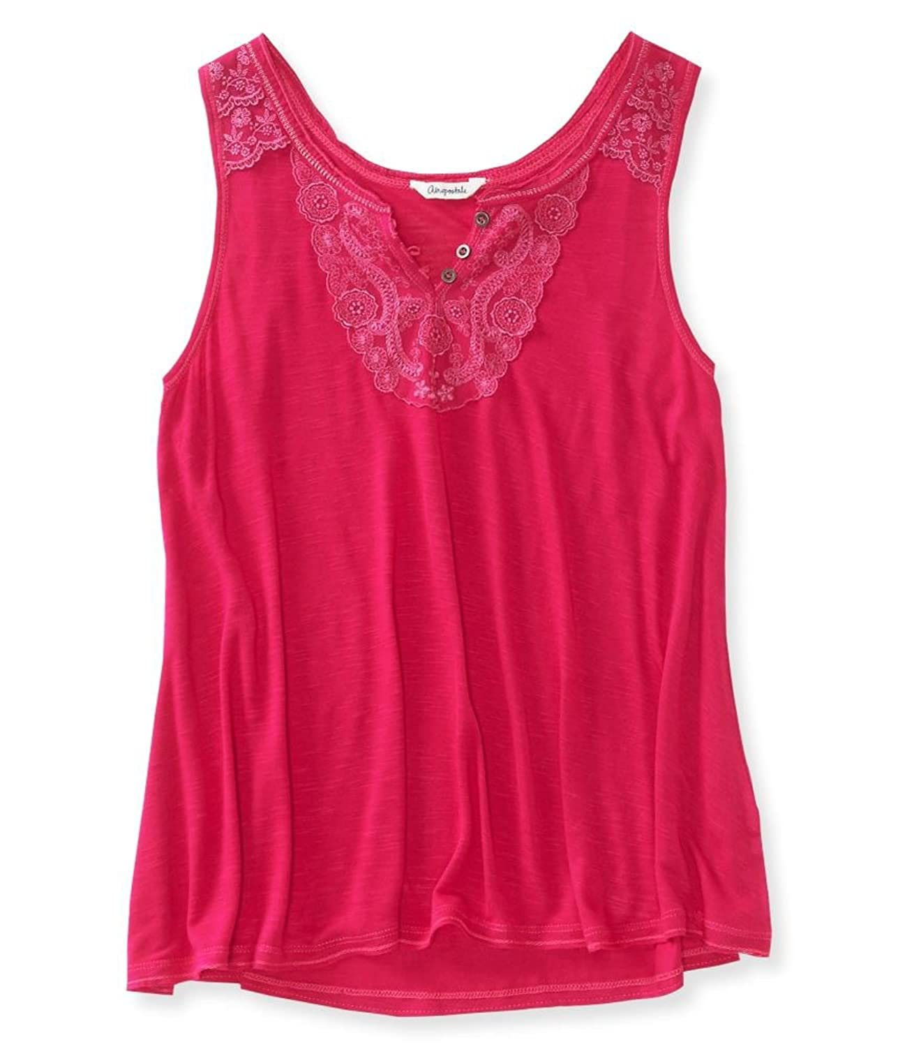 Aeropostale Womens Sheer Lacey Slub Tank Top
