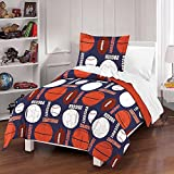 MS 3pc Navy Blue Orange White Sports Thmemed Comforter Full Queen Set, Kids Sport Equipment Ball Bedding, Boys Football Basketball Baseball Soccer Pattern, Cotton