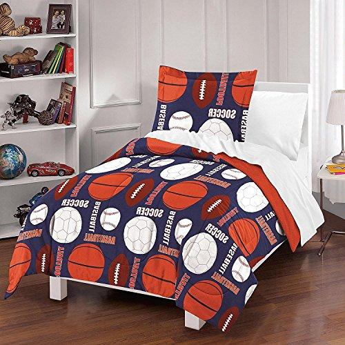 MS 3pc Navy Blue Orange White Sports Thmemed Comforter Full Queen Set, Kids Sport Equipment Ball Bedding, Boys Football Basketball Baseball Soccer Pattern, Cotton by MS