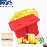 Popsicle Molds - MYOLDSX Silicone Classic Pop Molds with Seal Lid and 50 Wooden Sticks, FDA Approved, Easy-release, BPA-free - Red