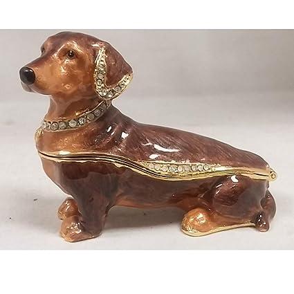 Black Dachshund Dog Austrian Crystal Enameled Pet Jewelery Trinket Box
