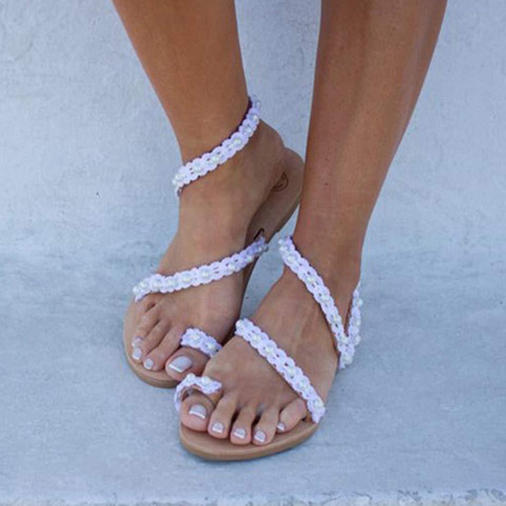 Darringls Sandali Estivi Donna Scarpe Donna Eleganti Piatto alla Caviglia Scarpe Sandali Gioiello Zoccoli Sabot Traspirante Antiscivolo