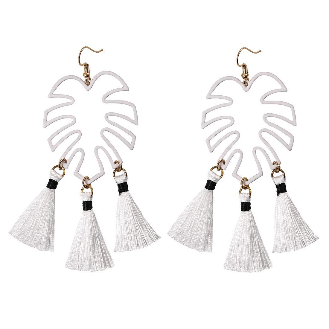 PHALIN JEWELRY Tassel Earrings Boho Fringe Chandelier Thread Dangle Earrings Tropical Leaf Drop Earrings for Women Girls