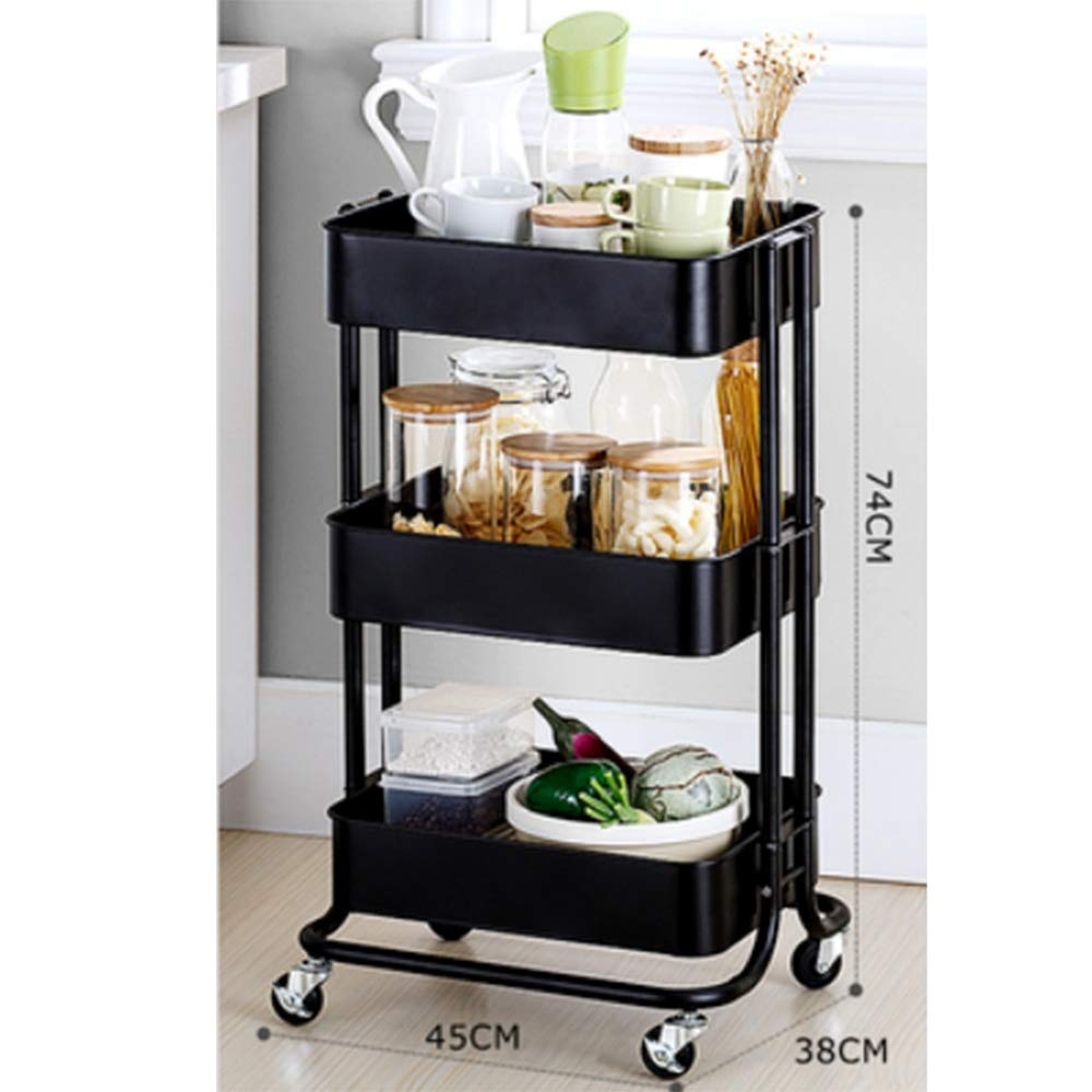 HUO Trolley Household Shelf Floor Removable Kitchen Storage Rack - 3 Color-453874cm Multifunction (Color : Black)