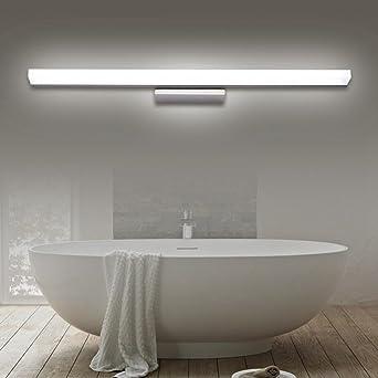 Miaoge Wasserdicht LED Spiegelleuchten Modern Minimalistisch Edelstahl  Waterproof Anti Fog Bad Lichter Bad Spiegelleuchte Weiß