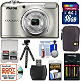 Nikon Coolpix A10 Digital Camera (Silver) 16GB Card + Batteries & Charger + Case + Flex Tripod + Kit