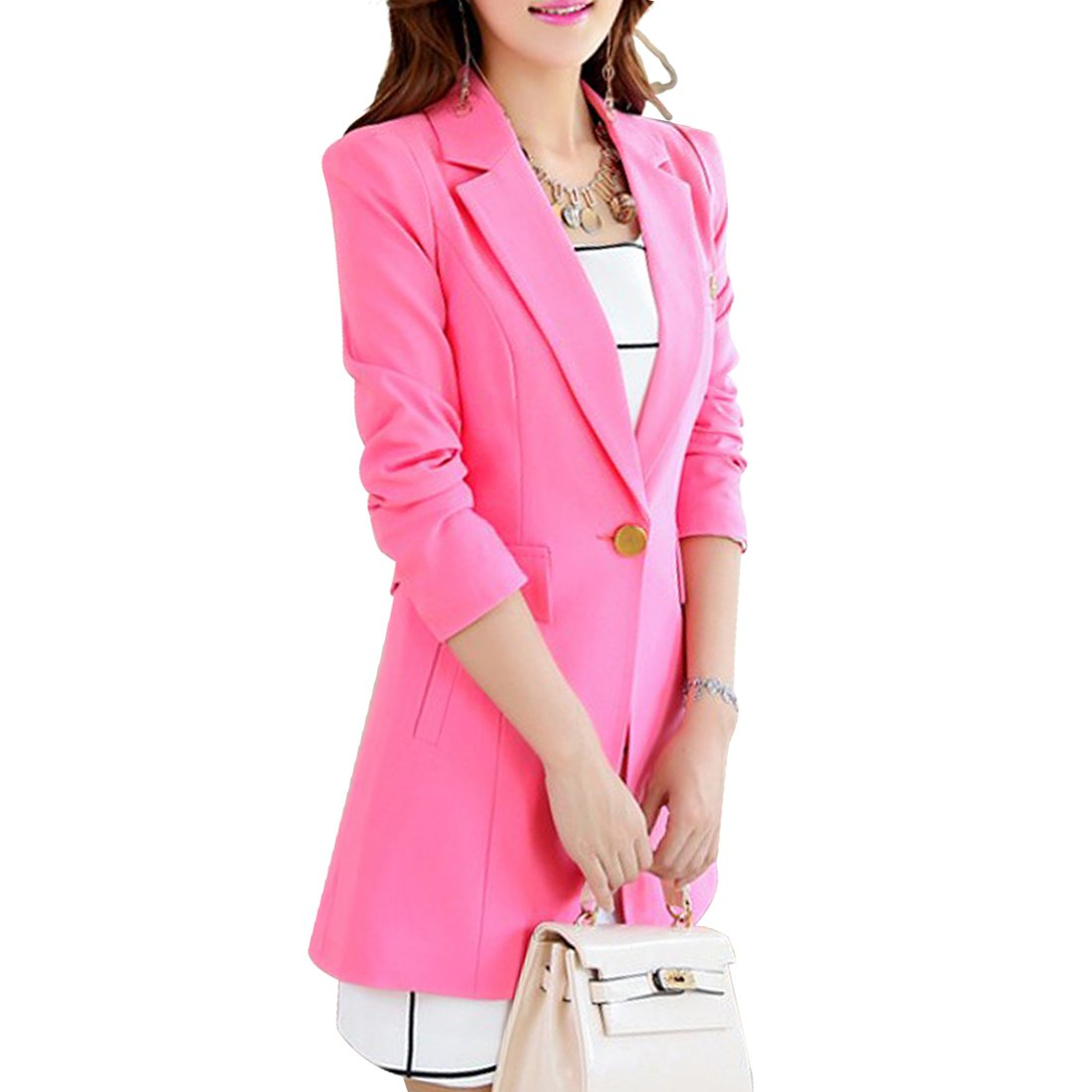 Aisuper Womens Blazer Long Slim One Button Jacket Suit Outerwear