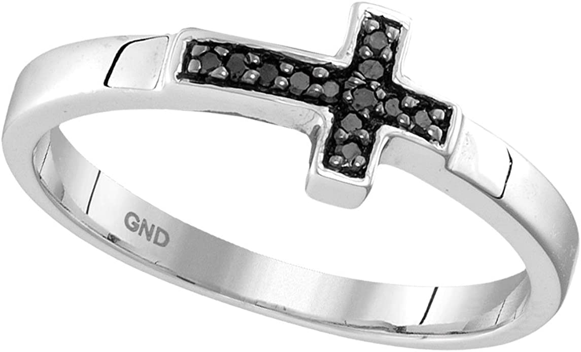 Sonia Jewels 925 Sterling Silver Round Black Diamond Woven Band Ring 1//6 Cttw