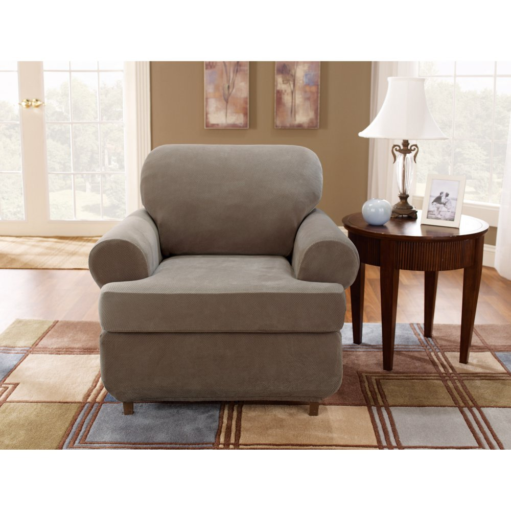 Sure Fit Stretch Pique 3-Piece  - Chair Slipcover  - Taupe (SF37941)