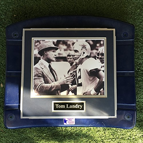 (Dallas Cowboys Tom Landry Roger Staubach Image Photo Texas Stadium Seat Bottom UNIQUE (The Cowboy House COA))