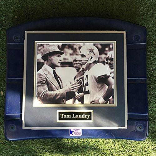(Dallas Cowboys Tom Landry Roger Staubach Image Photo Texas Stadium Seat Bottom UNIQUE (The Cowboy House COA))