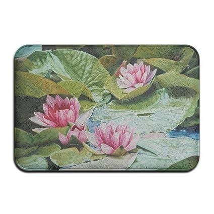 4e89107e HUVATT Tranquility Water Lilies Lotus Home Door Mat Super Absorbent  Antiskid Front Floor Mat,Soft