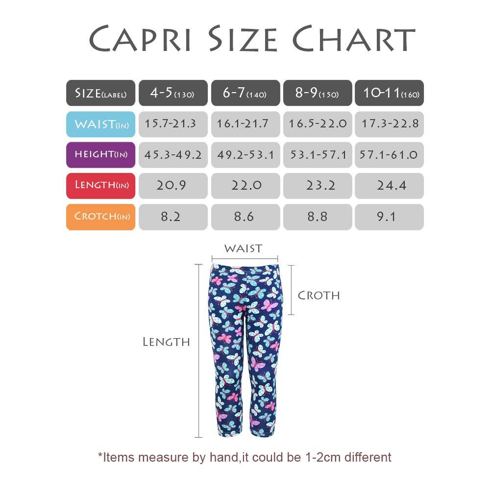 slaixiu 3-Pack Printing Flower Girl Leggings Kids Classic Pants 4-13Y