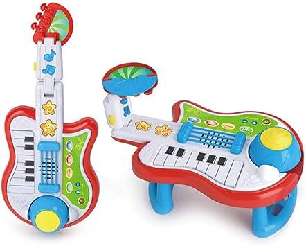 Musical Toy Guitarra 2 en 1 con Guitarra Ligera Guitarra eléctrica para niños Teclado de Juguete: Amazon.es: Deportes y aire libre