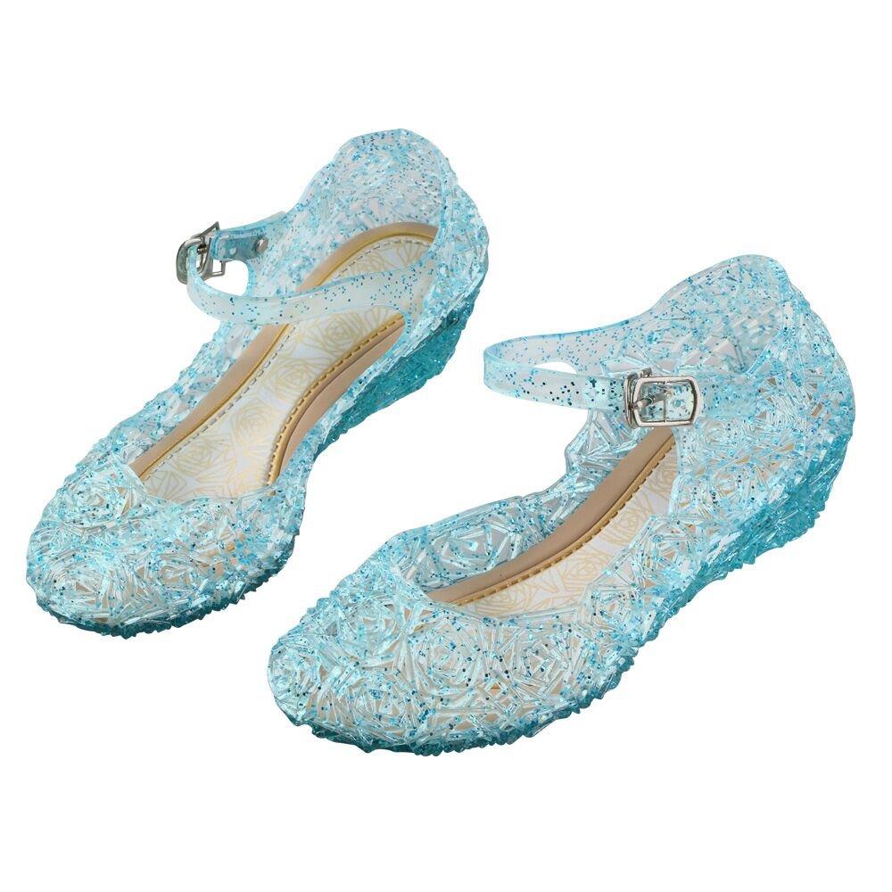 URAQT Zapatos de la Princesa Zapatos de Disfraz Ni/ñas Sandalias de Vestido con Tac/ón Pl/ástico para Cumplea/ños Cosplay Carnaval Halloween Fiesta Azul
