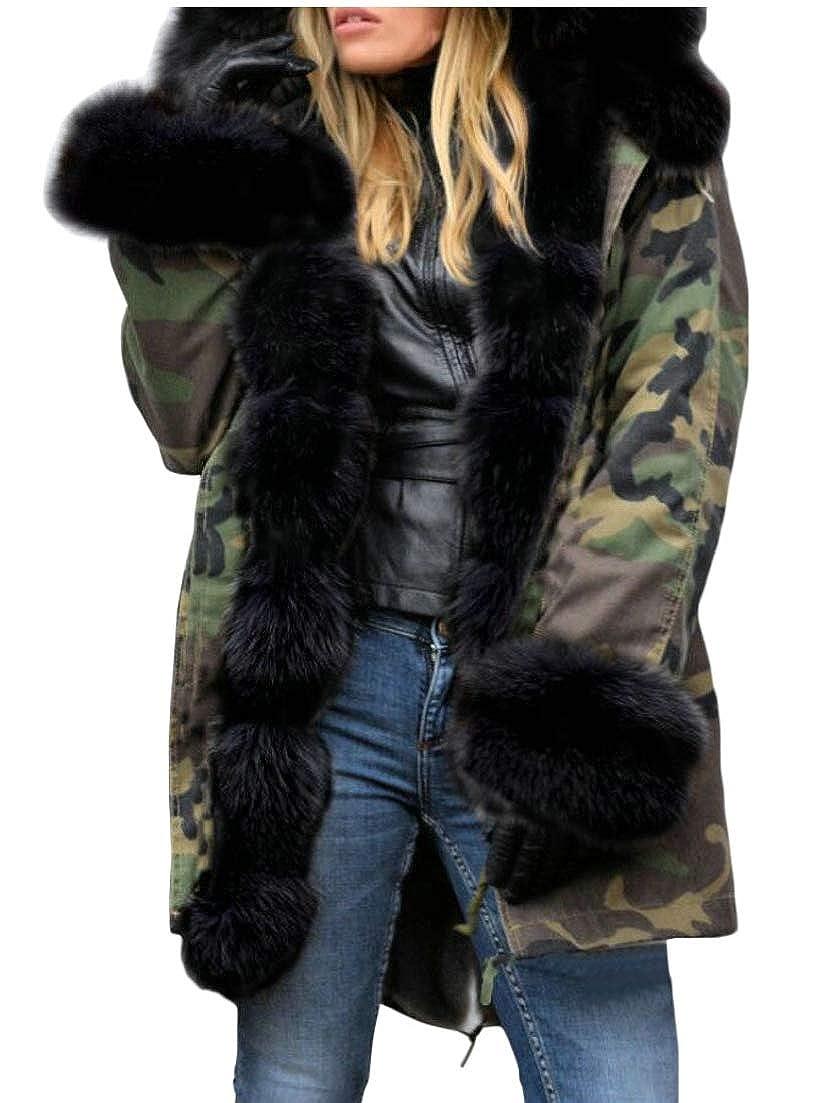 1 Esast Women Faux Fur Lined Parkas Jacket Military Hooded Warm Winter Coats