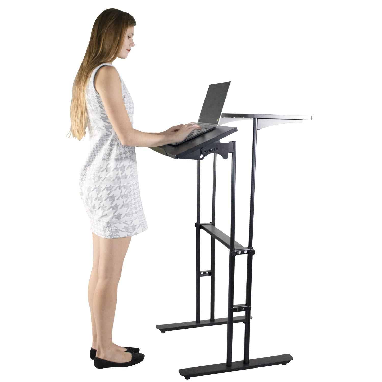 Standing Desk Height Adjustable Stand Up Desk Converter Riser (All Black)