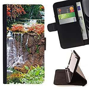 For Samsung Galaxy Note 4 IV - Nature Waterfall /Funda de piel cubierta de la carpeta Foilo con cierre magn???¡¯????tico/ - Super Marley Shop -