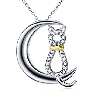 Silver Mountain 925 Sterling Silver CZ Moon Cat Pendant Necklace 7iaMq4QDDe