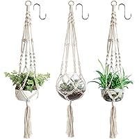3 x plantenhangers, macramé bloemenhanger, hangende bloempot met katoenen touw, bloemenhanger, plantenhanger voor binnen…