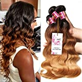 Unice Hair 3 Bundles Brazilian Virgin Hair Body Wave Ombre Hair Extensions 6a Grade Unprocessed Human Hair Wave 300g #1b/#4/#27 (16 18 20)