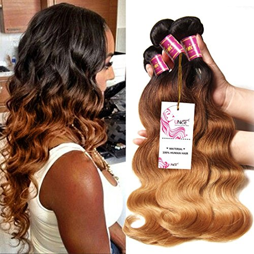 Unice Hair 3 Bundles Brazilian Virgin Hair Body Wave Ombre Hair Extensions 6a Grade Unprocessed Human Hair Wave 300g #1b/#4/#27 (16 18 20) by Unice Hair