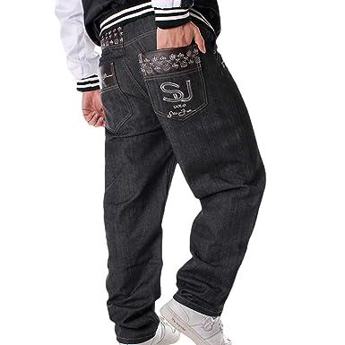 Hombres Hip Hop Cargo Jeans de la Vendimia Bordados Sueltos ...