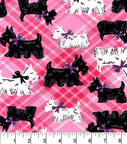 Fabric Dog Scottie (Flannel Scottie Dog on Pink Plaid Fabric)