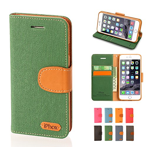 finest selection c76c7 bc115 iPhone 6 Case, iPhox [Jeans Series][Deep Green] Wallet Case ID ...
