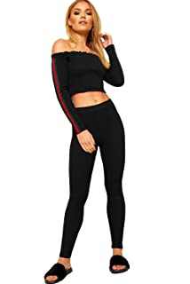 42cbc14ccee WearAll Women's Contrast Striped Long Sleeve Off Shoulder Crop Top Leggings  Ladies Set ...