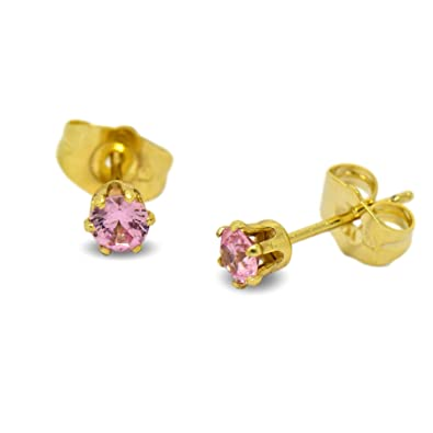 Blue Diamond Club - Tiny 9ct Yellow Gold Filled Womens Stud Earrings Girls Round Small 4mm Ruby Red Crystals 6 Claws QUqCVIOWt