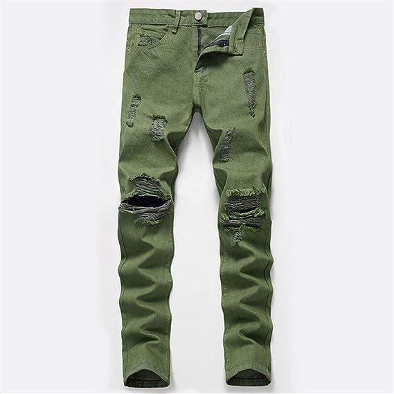 メンズジップワイドパンツ 大きな人格穴のジーンズが落ちるサイズの穴のジーンズと冬のアーミーグリーン エフェクトライトウォッシュ (Color : Green, Size : S)