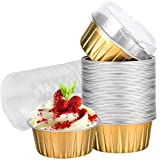 Dessert Cups with Lids, 25 Pack 5 oz Gold Aluminum Foil Baking Cups Holders, Cupcake Bake Utility Ramekin Clear Pudding Cups