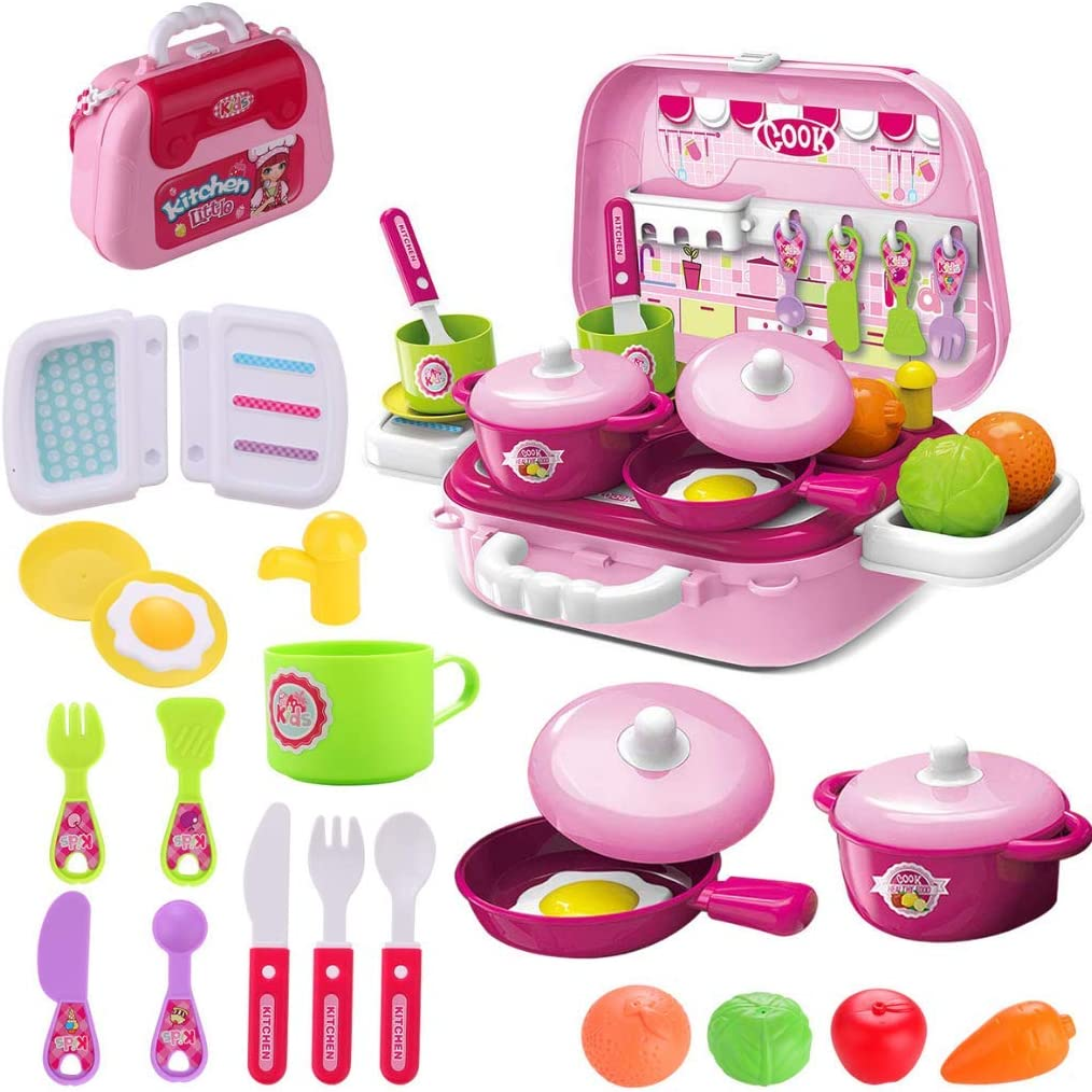 Amazon Com Wodtoizi Kids Play Kitchen Cooking Toy Set Accessories Kids Kitchen Playset Fruit Vegetable Toy Educational Pretend Play Party Role Play Toy Educational Birthday Boys Girls Children Toys Games