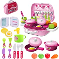 wodtoizi Kitchen Cooking Set Kids toy Pretend Play Cooking Set Fruit Vegetable Tea Playset Toy for Kids Early Age…