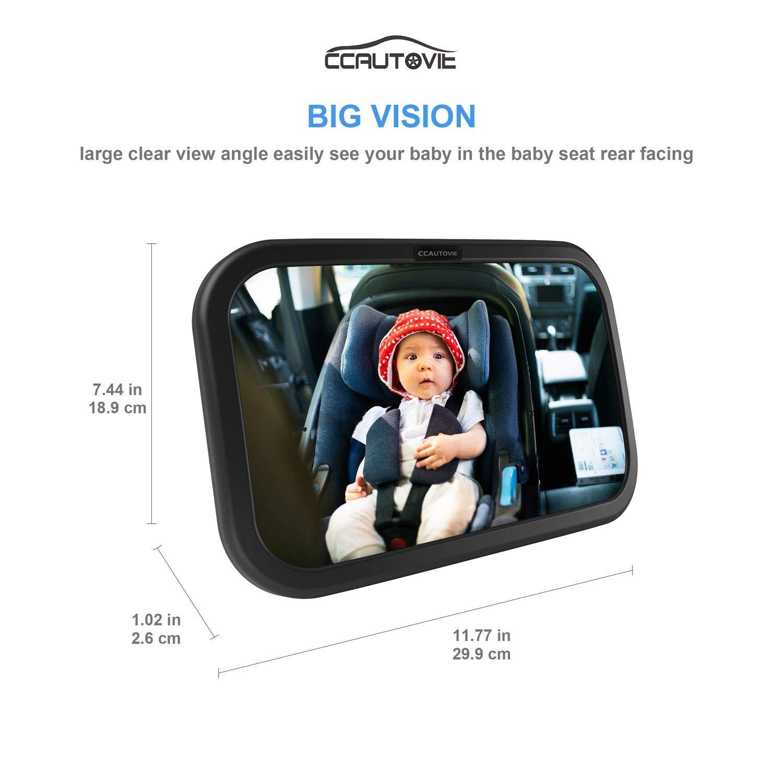 CCAUTOVIE R/ücksitzspiegel f/ür Baby Autospiegel Kinder R/ücksitz Babyspiegel Auto Spiegel Baby Bruchsicherer Schwarz