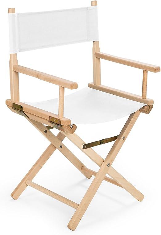 bas REGIESTUHL Stuhl aus Holz Campingstuhl (WEIß)
