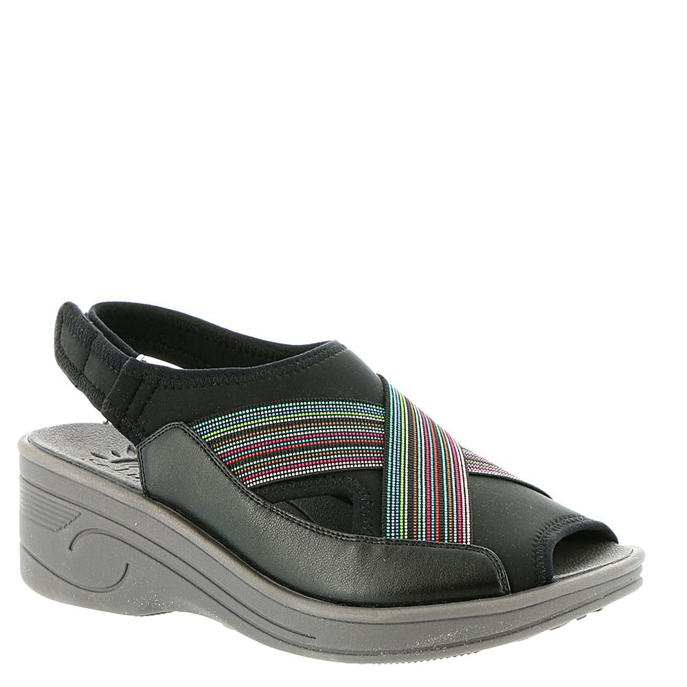 Easy Street Women's Delight Wedge Sandal, Black Neo/Multi, 11 W US