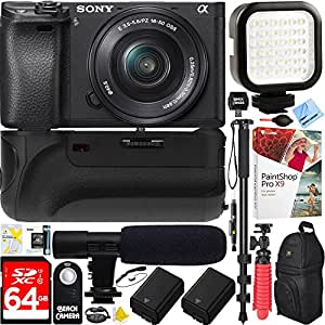 Sony a6500 4K Mirrorless Camera Body w/ APS-C Sensor Black (ILCE-6500/B) + 16-50mm Power Zoom E-Mount Lens & 64GB Battery Grip & Shotgun Mic Pro Video Bundle