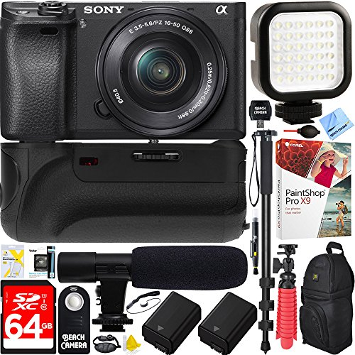 sony a6300 4k mirrorless camera with 16 50mm power zoom lens ilce 6300l 64gb battery grip. Black Bedroom Furniture Sets. Home Design Ideas