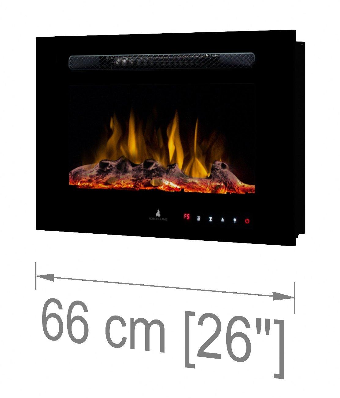 """- Chimenea El/éctrica Chimenea de Pared Estufa Chimenea 183 cm//72 /"""" Montaje en Pared Mando a Distancia Noble Flame Paris 1830 14,5 cm Profundidad - Negro"""