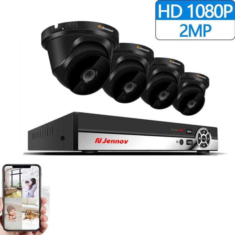 Z-DYQ Cámara De Vigilancia 1080P HD 4 Canales 2MP 1080P Videovigilancia Exterior PoE Circuito Cerrado De Televisión NVR Kit Sistema De Cámara De Seguridad para El Hogar Cámara IP
